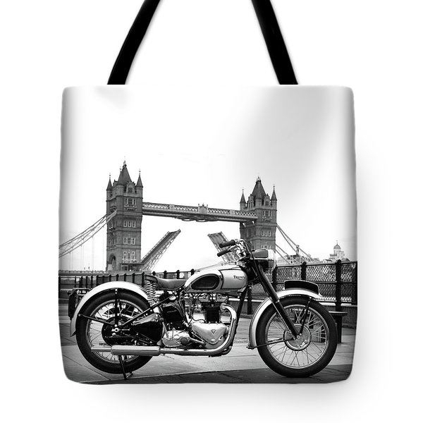 1949 Triumph T100 Tote Bag by Mark Rogan