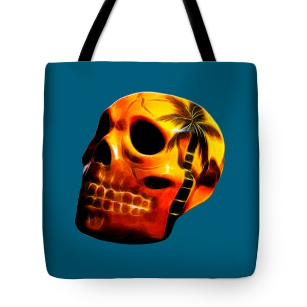 Glowing Skull Tote Bag by Shane Bechler