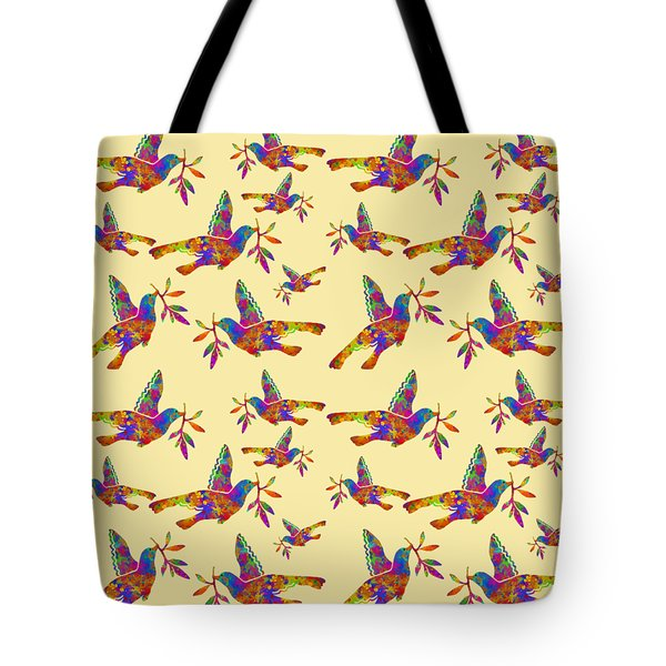 Dove With Olive Branch Tote Bag by Christina Rollo