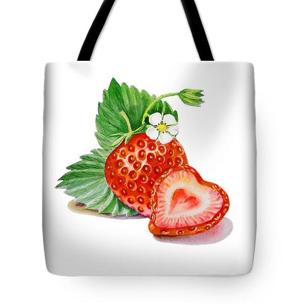 Artz Vitamins A Strawberry Heart Tote Bag by Irina Sztukowski