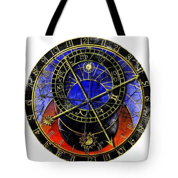 Astronomical Clock In Grunge Style Tote Bag by Michal Boubin