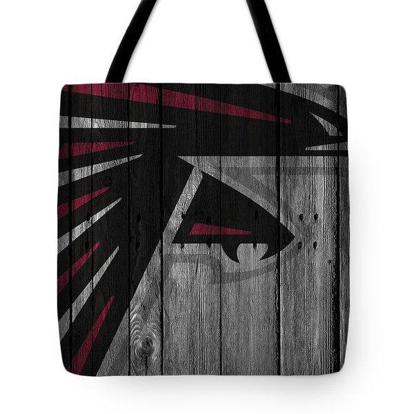 Atlanta Falcons Wood Fence Tote Bag by Joe Hamilton