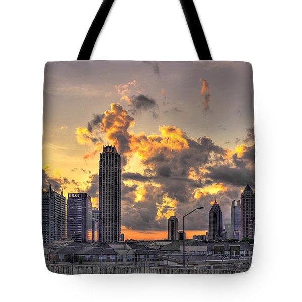Atlanta Sunrise On Atlantic Station Commons And Midtown Atlanta Tote Bag by Reid Callaway