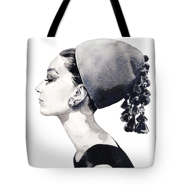 Audrey Hepburn For Vogue 1964 Couture Tote Bag by Laura Row