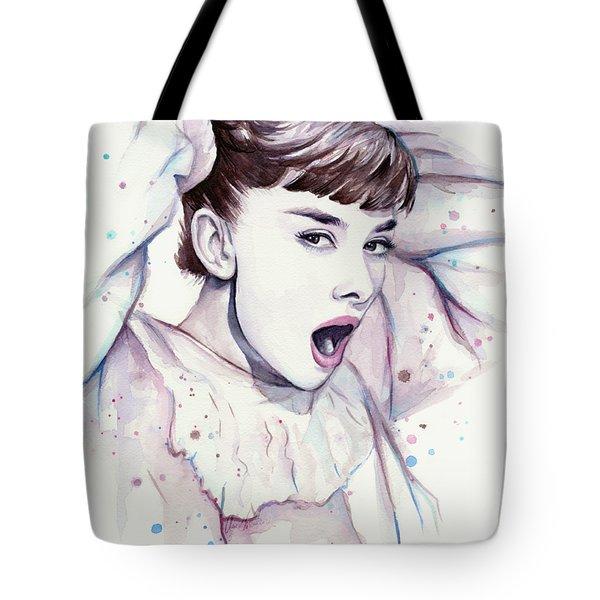 Audrey - Purple Scream Tote Bag by Olga Shvartsur