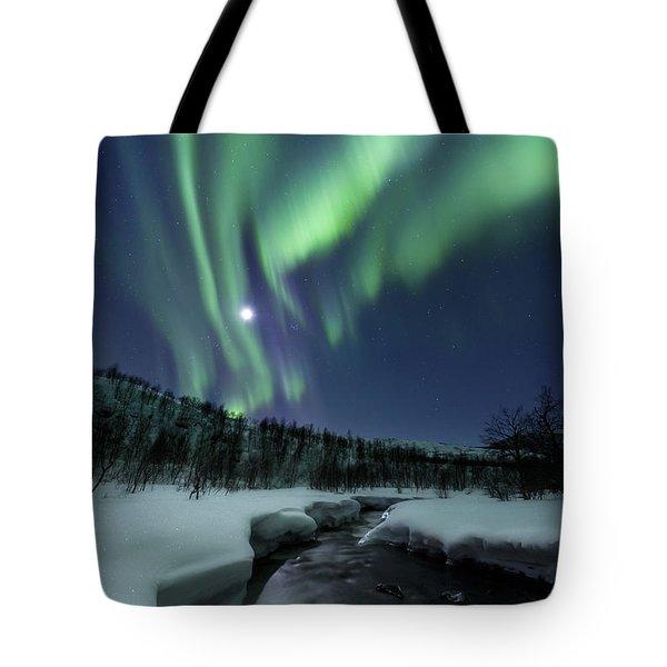 Aurora Borealis Over Blafjellelva River Tote Bag by Arild Heitmann