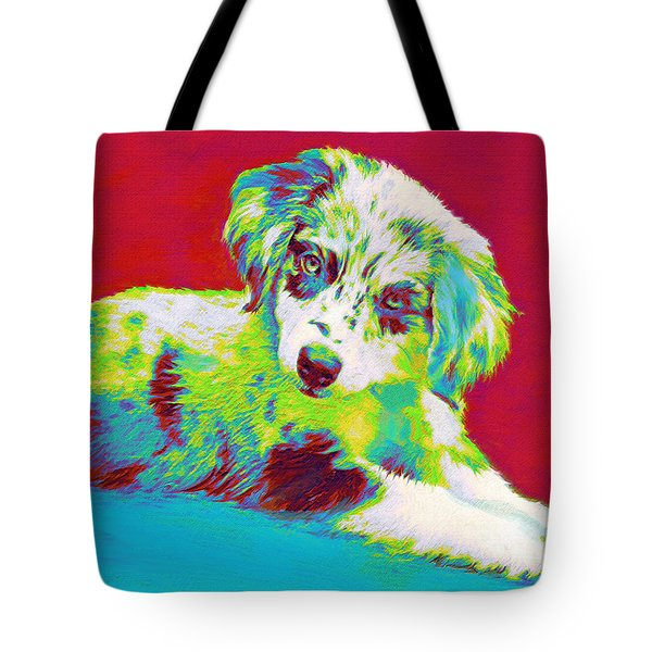 Aussie Puppy Tote Bag by Jane Schnetlage