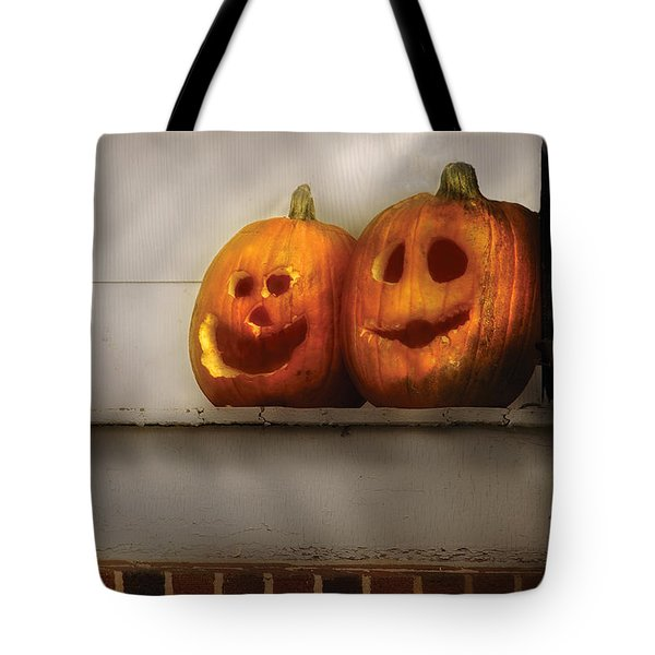 Autumn - Pumpkins - Two Goofy Pumpkins Tote Bag by Mike Savad