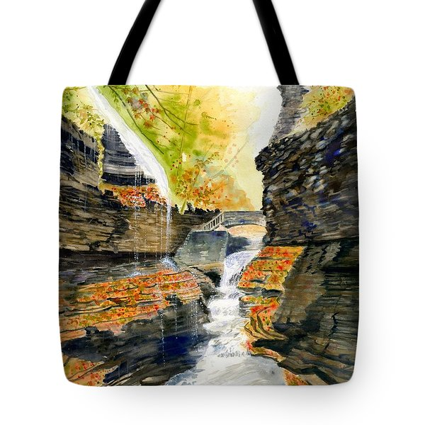 Autumn At Rainbow Falls  Tote Bag by Melly Terpening