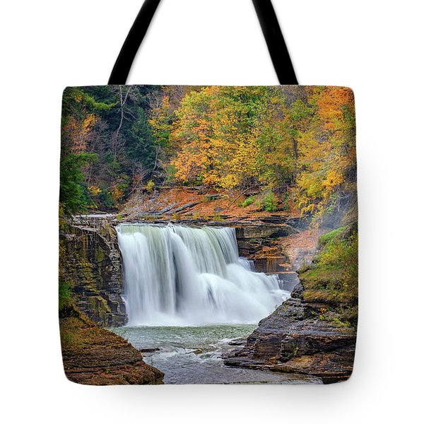 Autumn At The Lower Falls Tote Bag by Rick Berk