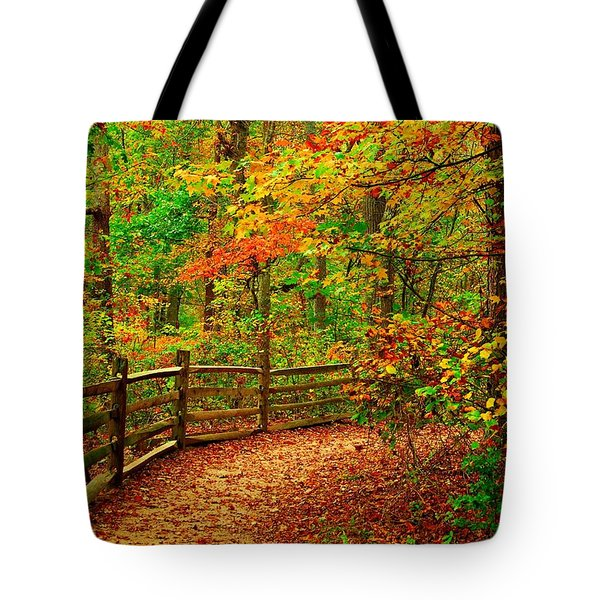 Autumn Bend - Allaire State Park Tote Bag by Angie Tirado