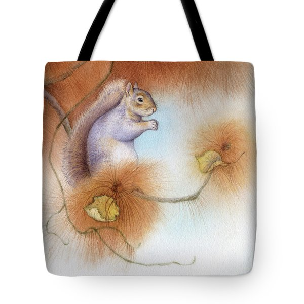 Autumn Come Softly Squirrel Tote Bag by Tracy Herrmann