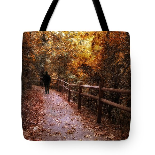 Autumn In Stride Tote Bag by Jessica Jenney