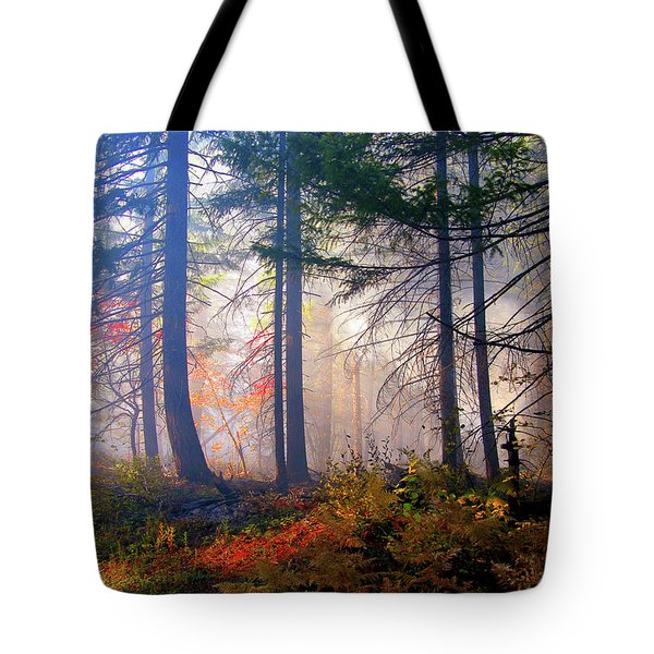 Autumn Morning Fire And Mist Tote Bag by Diane Schuster