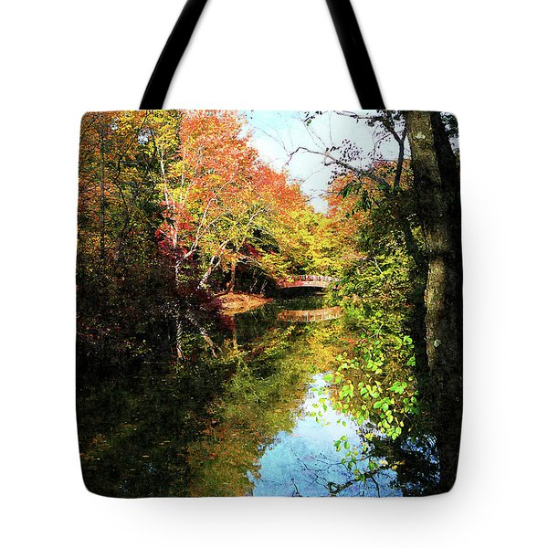 Autumn Park With Bridge Tote Bag by Susan Savad