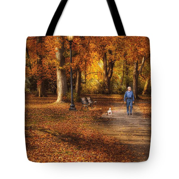 Autumn - People - A Walk In The Park Tote Bag by Mike Savad