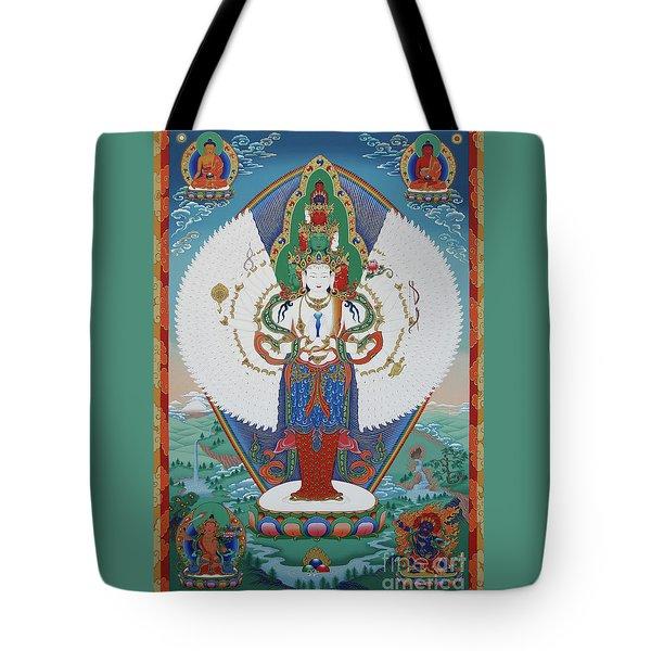 Avalokiteshvara Lord Of Compassion Tote Bag by Sergey Noskov