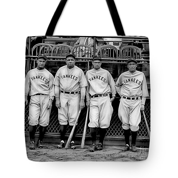 Babe Ruth Lou Gehrig And Joe Dimaggio Tote Bag by Marvin Blaine