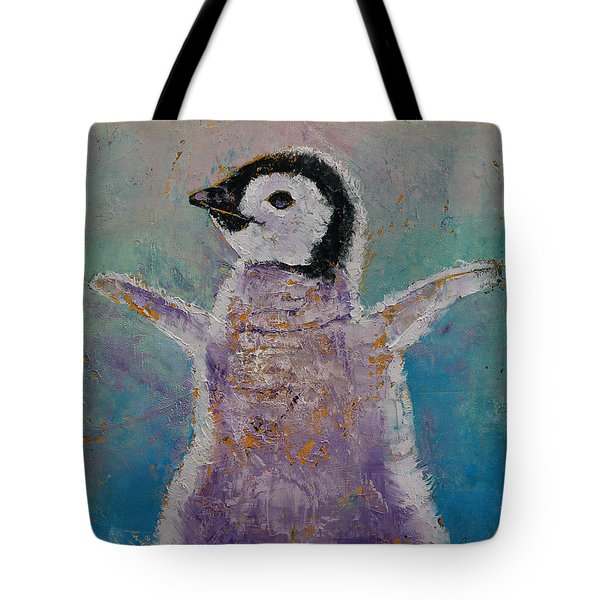 Baby Penguin Tote Bag by Michael Creese