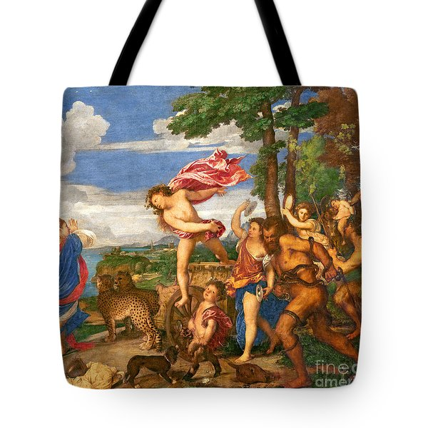 Bacchus And Ariadne Tote Bag by Titian