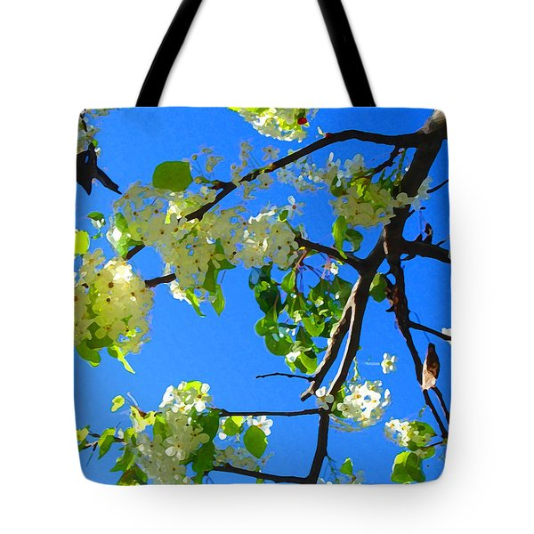 Backlit White Tree Blossoms Tote Bag by Amy Vangsgard