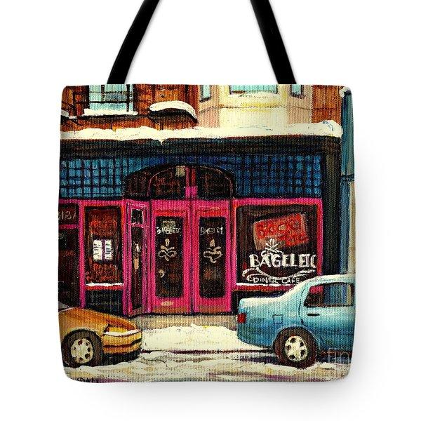 Bagels Etc Montreal Tote Bag by Carole Spandau