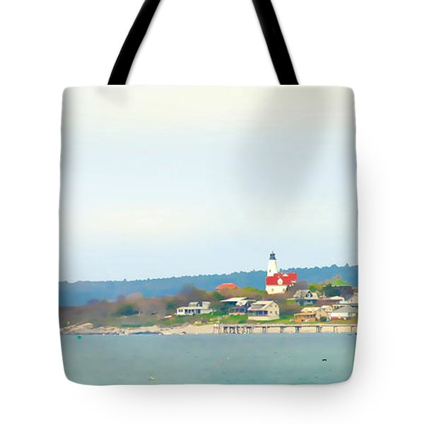 Bakers Island Lighthouse Tote Bag by Michelle Wiarda