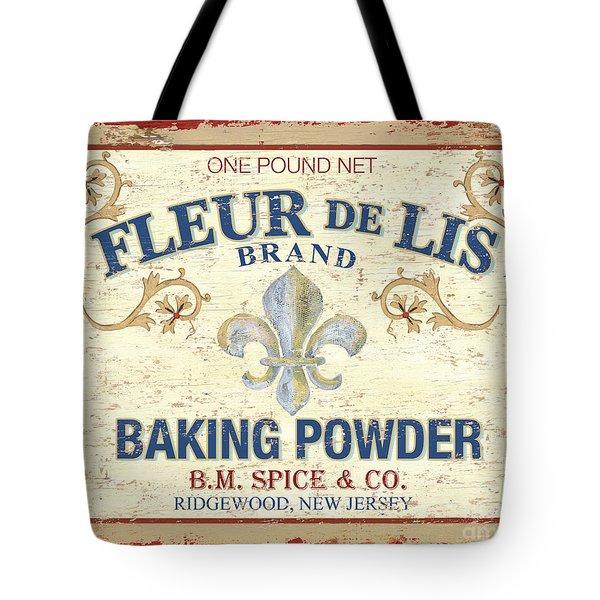 Baking Powder Fleur de Lis Tote Bag by Debbie DeWitt