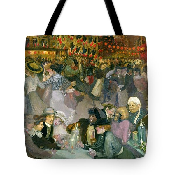 Ball On The 14th July Tote Bag by Theophile Alexandre Steinlen