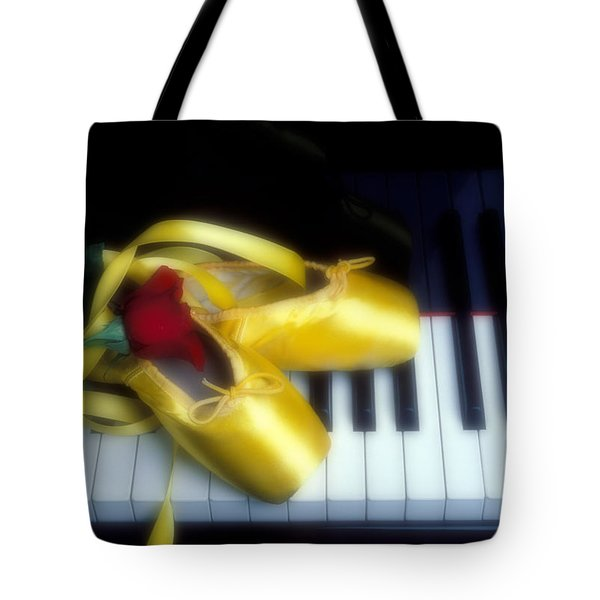 Ballet shoes on piano keys Tote Bag by Garry Gay
