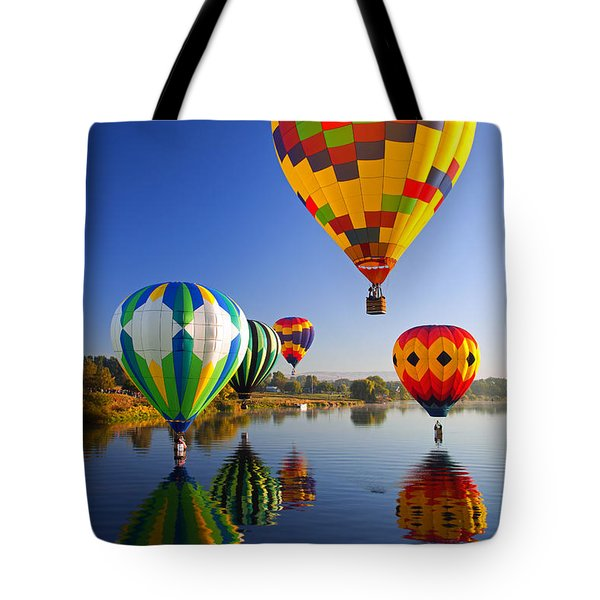 Balloon Reflections Tote Bag by Mike  Dawson