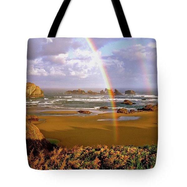 Bandon Beach Rainbow Sunrise Tote Bag by Ed  Riche
