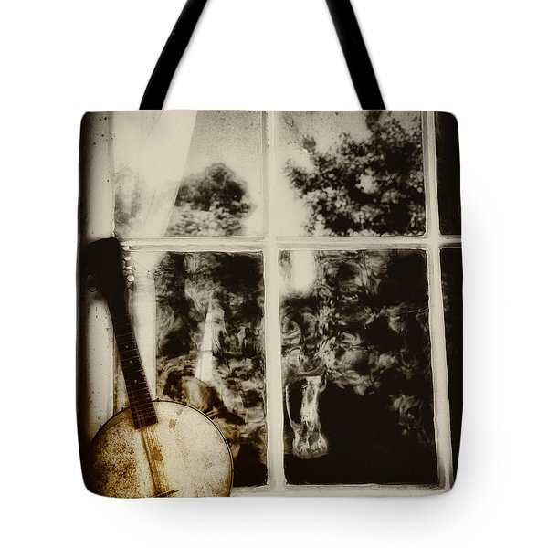Banjo Mandolin In The Window In Black And White Tote Bag by Bill Cannon