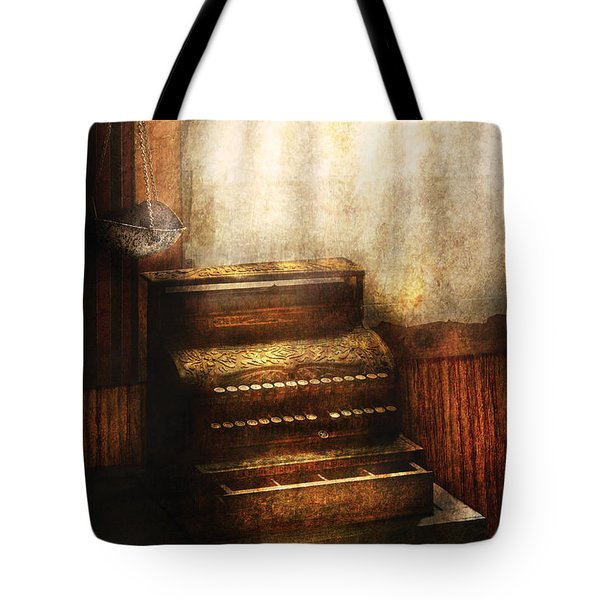 Banker - An Old Cash Register Tote Bag by Mike Savad