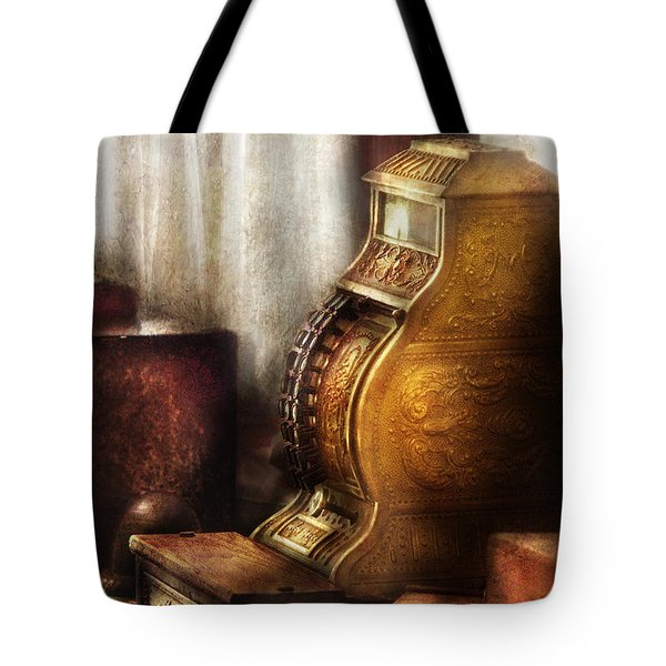Banker - Brass Cash Register  Tote Bag by Mike Savad