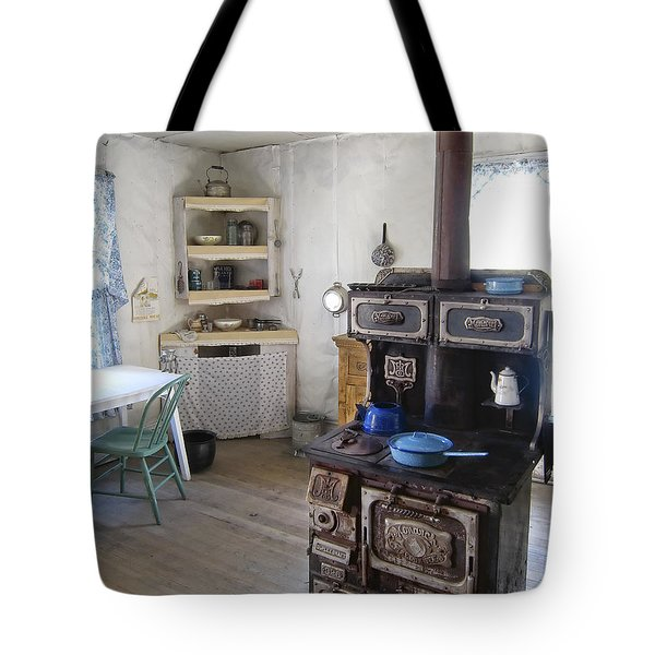 Bannack Ghost Town  Kitchen And Stove - Montana Territory Tote Bag by Daniel Hagerman