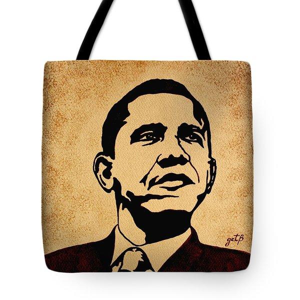 Barack Obama Original Coffee Painting Tote Bag by Georgeta  Blanaru