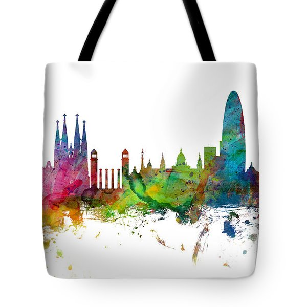 Barcelona Spain Skyline Panoramic Tote Bag by Michael Tompsett