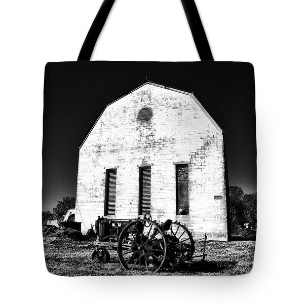 Barn And Tractor In Black And White Tote Bag by Bill Cannon
