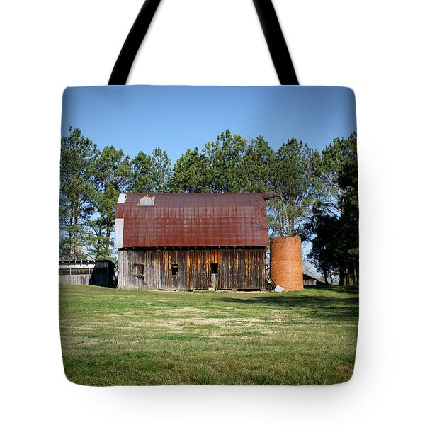 Barn with Tree in Silo Tote Bag by Douglas Barnett