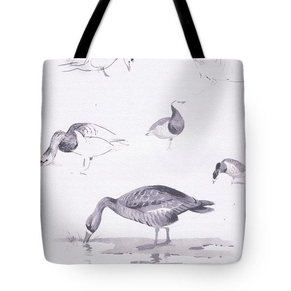 Barnacle And White Fronted Geese Tote Bag by Archibald Thorburn