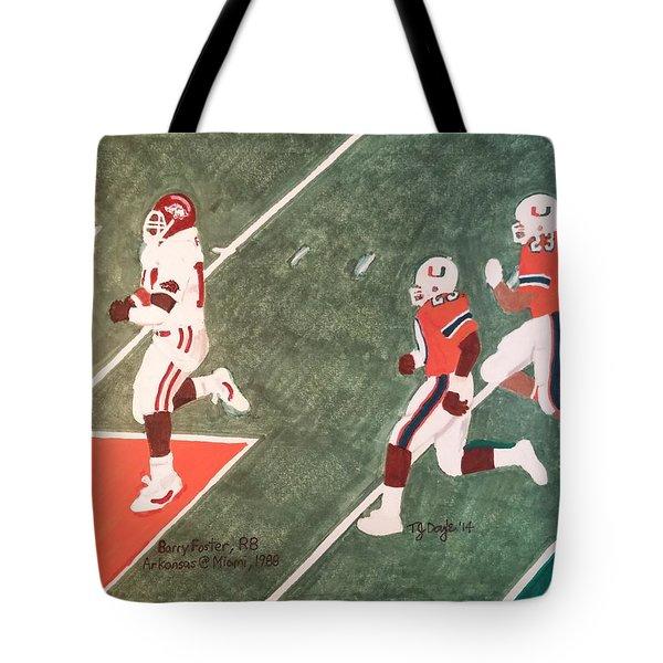 Arkansas V Miami, 1988 Tote Bag by TJ Doyle