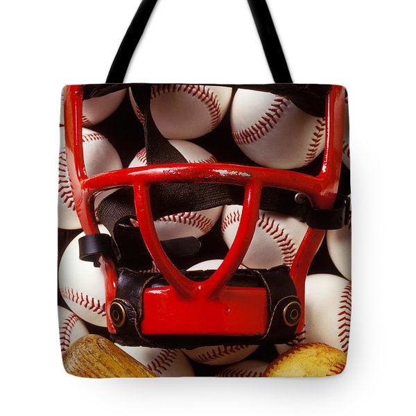 Baseball catchers mask and balls Tote Bag by Garry Gay