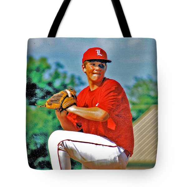 Baseball Pitcher Tote Bag by Marilyn Holkham