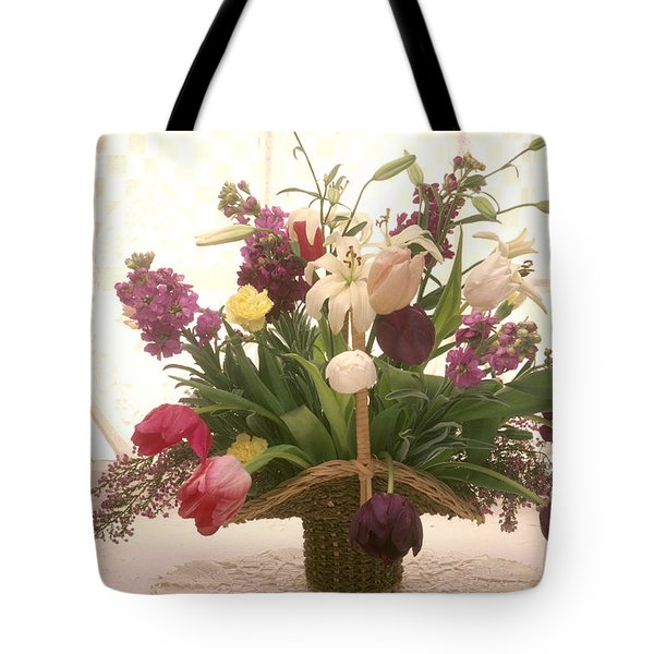 Basket of flowers in window Tote Bag by Garry Gay