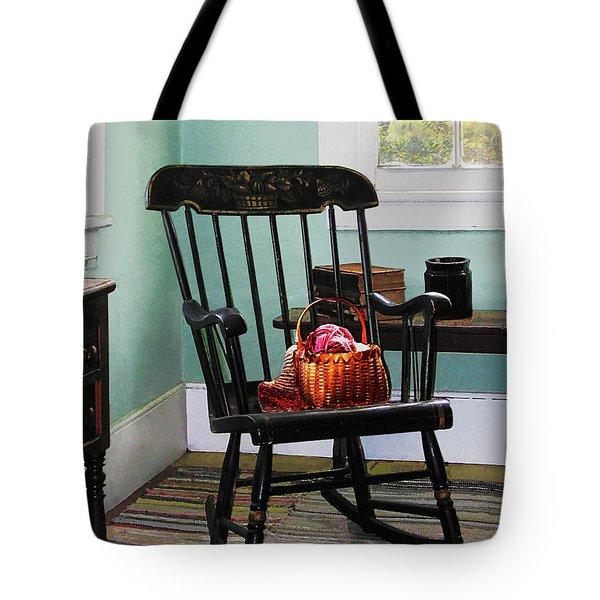 Basket Of Yarn On Rocking Chair Tote Bag by Susan Savad