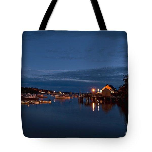 Bass Harbor at night Tote Bag by John Greim