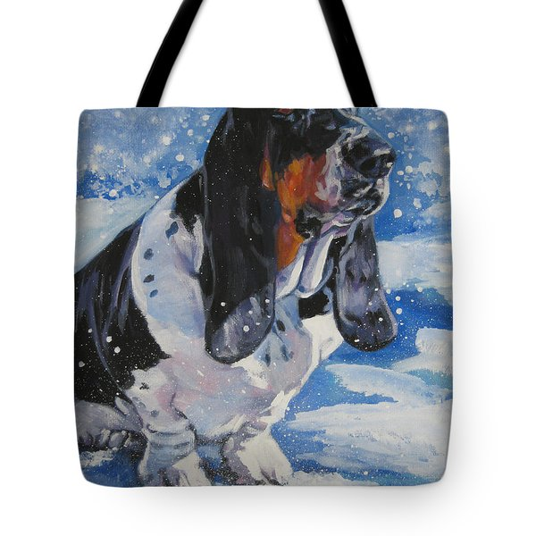 basset Hound in snow Tote Bag by L A Shepard