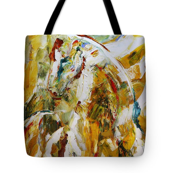 Bathed In Gold Tote Bag by Laurie Pace
