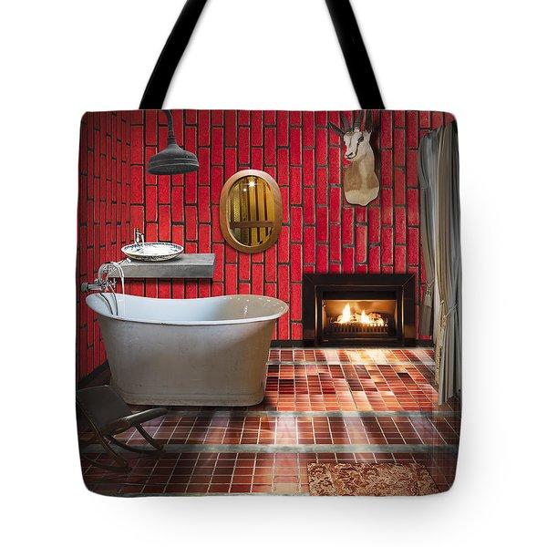 Bathroom Retro Style Tote Bag by Setsiri Silapasuwanchai